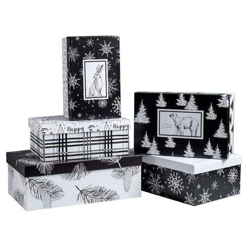 Фото - Набор подарочных коробок Дарите счастье Черно-белый, 5 шт. черный/белый набор подарочных коробок дарите счастье универсальный 10 шт бежевый белый черный