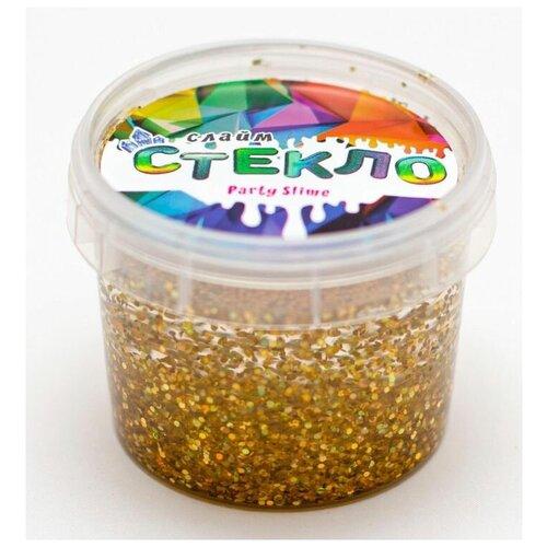 Слайм «Стекло» с золотыми крупными блестками, 100 гр, Слайм Стекло