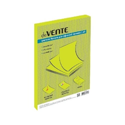 Бумага цветная А4 100л, deVENTE 80г/м2 цв.желтый неон. 2072605