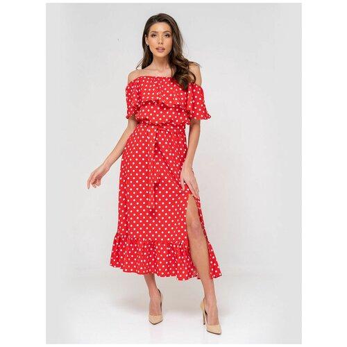 Платье сарафан в горох, открытые плечи с воланом, юбка колокольчик с воланом, красный цвет, размер L