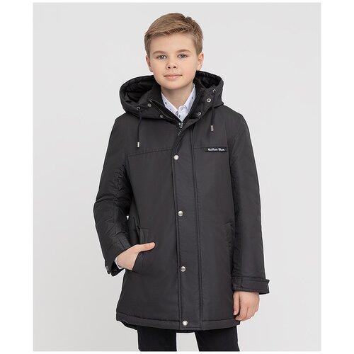Купить Пальто черное с капюшоном Button Blue для мальчиков, цвет черный, размер 140, модель 221BBBS45010800, Пальто и плащи