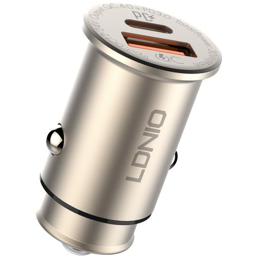 Автомобильное ЗУ LDNIO C506Q/ Авто ЗУ + Кабель PD-L/ PD + QC 4.0+/ 2 USB/ Выход: 5V_9V_12V_20V, 30W/ шампанское
