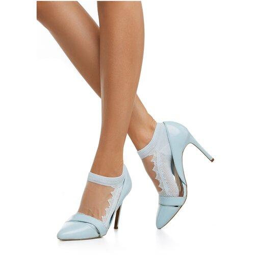 Укороченные женские носки с прозрачной вставкой с фигурными краями Le Cabaret (бледно-голубой; белый) р-р 36-40 (1пара)