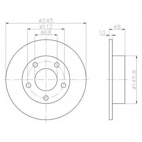Тормозной диск Hella 8DD 355 105-681 для Audi A4; VW Passat
