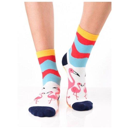 Яркие цветные носки унисекс, прикольные красочные носки/ Модные носки с рисунком/ Высокие носки из натурального хлопка с рисунком Фламинго, колорблок