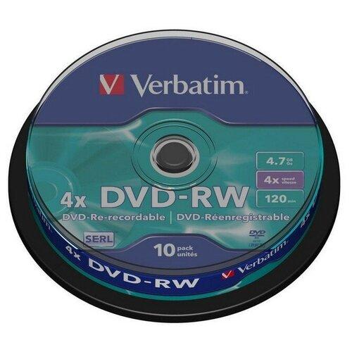 Фото - Носители информации DVD-RW, 4x, Verbatim Serl Matt Silver, Cake/10, 43552 носители информации dvd r 16x verbatim azo matt silver cake 25 43500