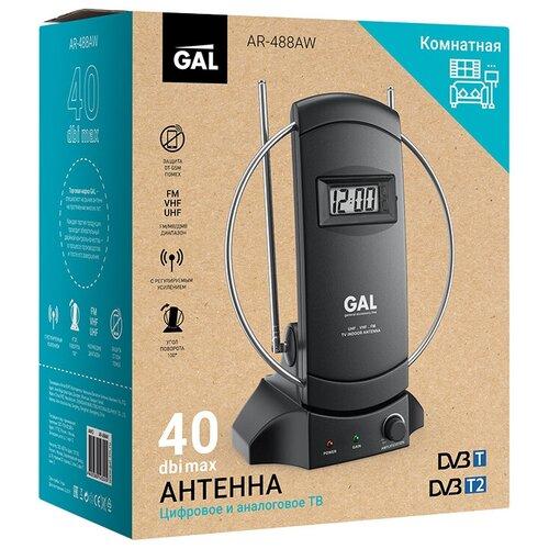 Антенна GAL AR-488AW активная для приема сигналов цифрового ТВ DVB-T/T2 со встроенными часами телевизионная антенна gal ar 488aw