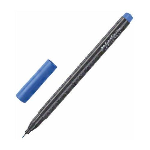 Купить Ручка капиллярная (линер) FABER-CASTELL Grip Finepen , синяя, трехгранная, корпус черный, 0, 4 мм, 151651, Ручки