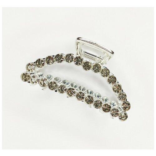 Купить Заколка- краб для волос, металический в стразах, серебристый, Fashion jewelry