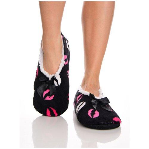 Плюшевые домашние носки на нескользящей подошве, внутренний подклад из искусственного меха, принт цветные губы - поцелуйчики, черный цвет, размер 35-37