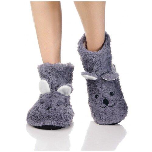 Плюшевые носки домашние Мишки с накладными ушками, противоскользящая подошва, внутренний подклад из искусственного меха, серый цвет, размер 36-38