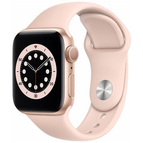 Умные часы Apple Watch Series 6 40mm aluminium case with sport band, золотистый/розовый песок