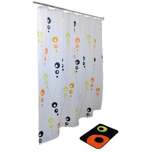Фото - Набор для ванной комнаты My Space MOLECULE ST18018040602, занавеска полиэстер, 180х180 см, коврик 40х60 коврик для ванной my space mm5080005 800х500мм микрофибра