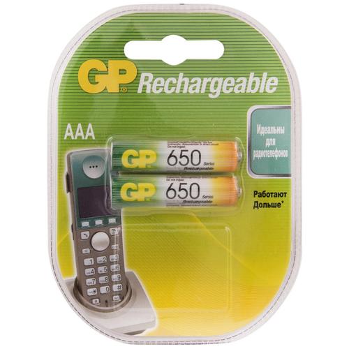 Аккумулятор перезаряжаемый GP 650mAh АAA HR03 NiMh аккумулятор gp 1000mah аaa hr03 nimh бл 2шт