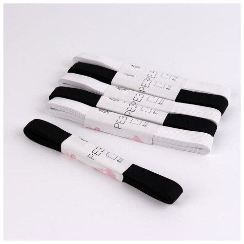 Арт Узор Резинки бельевые, 15 мм, 2 ± 0,5 м, 6 шт, цвет белый/чёрный