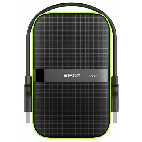 Фото - Внешний HDD Siliсon Power 5 TB A60 Armor, чёрный/зелёный, 2.5, USB 3.0 внешний hdd silicon power armor a60 1 tb черный зеленый