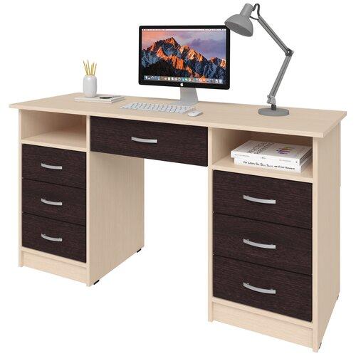 Фото - Письменный стол СитиМебель с 6 ящиками и дополнительным ящиком под столешницей, ШхГ: 140х50 см, цвет: дуб молочный/венге цаво письменный стол ситимебель компактный шхг 140х50 см цвет венге цаво