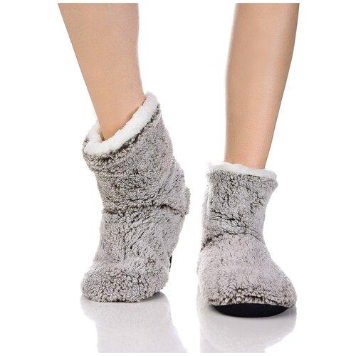 Плюшевые носки домашние, окраска меланж, противоскользящая подошва, внутренний подклад из искусственного меха, коричневый-белый цвет, размер 36-38