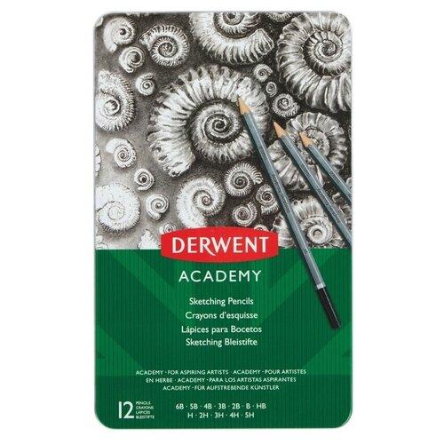 Купить Карандаши чернографитные Derwent Academy, Sketching Tin, 12 штук, 5H-6B, металлическая коробка (2301946)