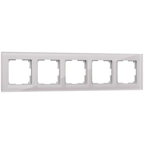Рамка из стекла на 5 постов Favorit дымчатый Werkel W0051117/ Рамка на 5 постов Favorit (дымчатый,стекло)