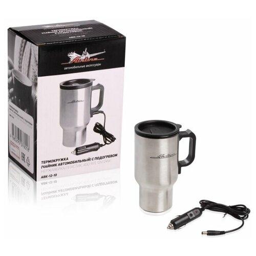 Термокружка (чайник автомобильный) с подогревом, нержавейка/пластик, 450 мл, 12V/24W (ABK-12-10)