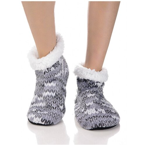 Плюшевые носки домашние с вязаным узором, противоскользящая подошва, внутренний подклад из искусственного меха, серый цвет, размер 35-37