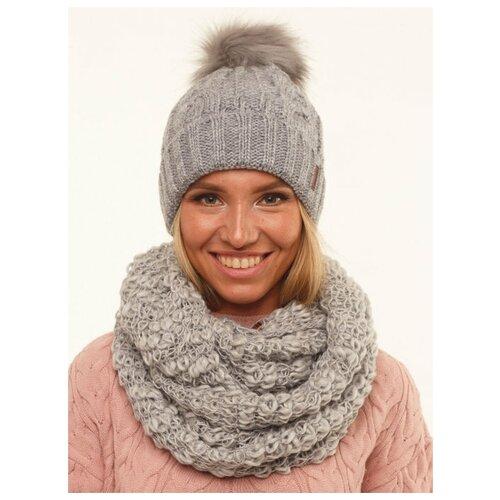 Женская зимняя шапка с помпоном, флисовый подклад, вязаная, крупная вязка, светло-серый цвет, размер 56-58