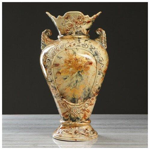 Керамика ручной работы Ваза напольная Кристи, под малахит, цвет коричневый, золотистая ветка, 42 см, микс, керамика ваза керамика ручной работы кегля 4341586 коричневый