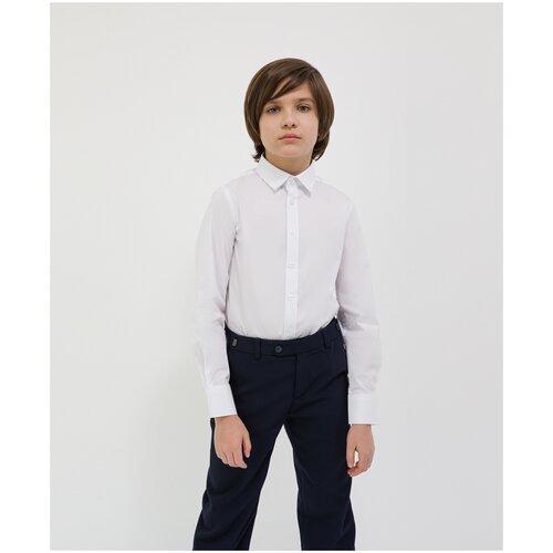 Сорочка белая с длинным рукавом Gulliver для мальчиков, цвет белый, размер 128, модель 200GSBC2302