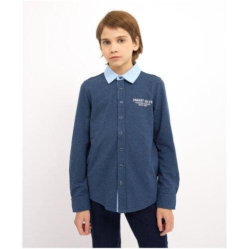 Купить Рубашка синяя с длинным рукавом Gulliver для мальчиков, цвет синий, размер 122, модель 200GSBC1405, Рубашки