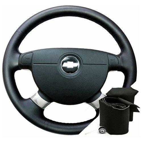 Оплетка для руля Chevrolet Lacetti (2004-2013) для перетяжки резинового руля - черная нить