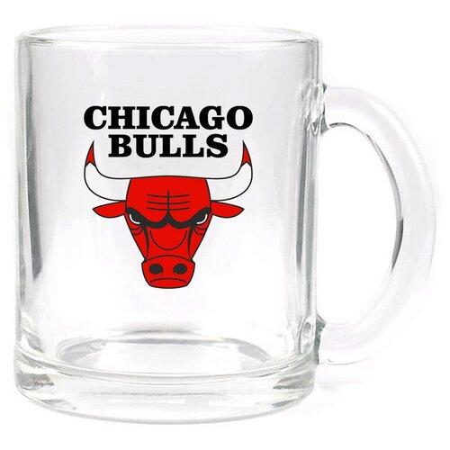 Стеклянная кружка прозрачная в подарок баскетболисту Chicago bulls