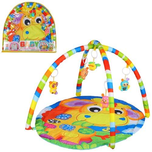 Детский коврик развивающий для малышей, круглый, подвески-погремушки,игрушки развивающие, коврик для ползания детский, коврик для детей, игровой коврик детский, коврик для малышей, коврик для ребенка, коврик для детей игровой, мягкий, размер 62х60х3 см