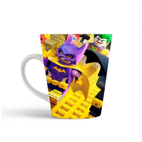 Кружка-латте CoolPodarok Мульфильмы Лего Lego (Бэтмэн, желтый фон)