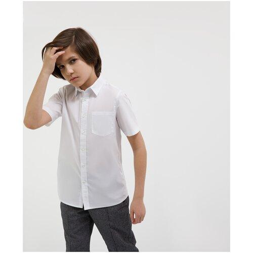 Сорочка белая с коротким рукавом Gulliver для мальчиков, цвет белый, размер 170, модель 200GSBC2301