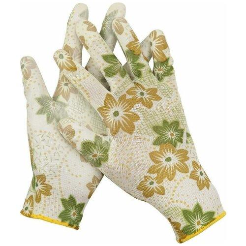 Фото - Перчатки GRINDA садовые, прозрачное PU покрытие, 13 класс вязки, бело-зеленые, размер M перчатки садовые verdemax серо зеленые m