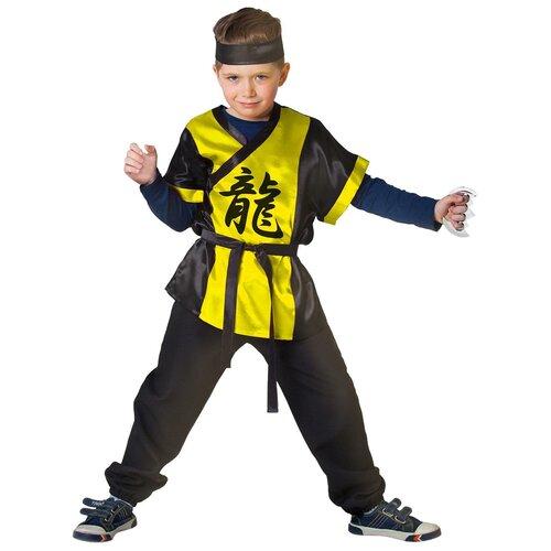 Купить Карнавальный костюм «Ниндзя: жёлтый дракон» с оружием, р. 28, рост 98-104 см, Страна Карнавалия, Карнавальные костюмы