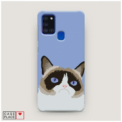 Чехол Пластиковый Samsung Galaxy A21s Мем грустный кот