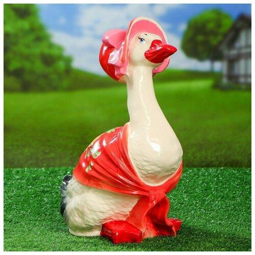Садовая фигура Утка в шляпе, 37 см, микс садовая фигура утка цветная мал 30 20 46 см f01271 1145141