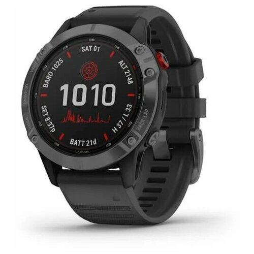 Умные часы Garmin Fenix 6 Pro Solar, черный/серый Умные часы Garmin Fenix 6 Pro Solar, черный умные часы garmin fenix 6x pro solar титановый с титановым браслетом серый