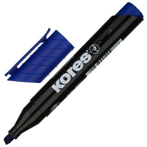 Фото - Маркер перманентный KORES синий 3-5 мм скошенный наконечник 20953 3 штуки маркер для досок kores красный 3 5 мм скошенный наконечник 20857 3 штуки