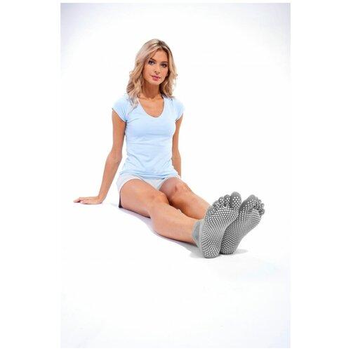Носки противоскользящие для занятий йогой, размер 35-41, Bradex (Товары для спорта и отдыха, серый, SF 0348)