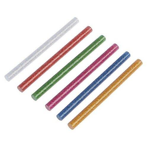 TUNDRA Клеевые стержни TUNDRA, 7 х 100 мм, разноцветные с блестками, 6 шт.