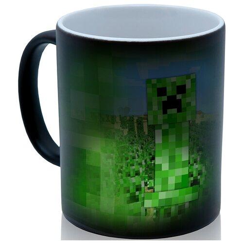 Кружка хамелеон Creeper, персонаж Майнкрафт (Minecraft), недорогой сувенир