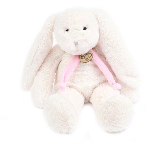Мягкая игрушка Заяц 40 см белый/розовый