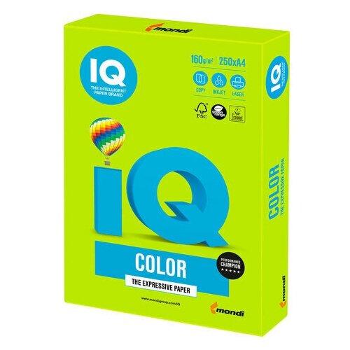Фото - Бумага цветная IQ color, А4, 160 г/м2, 250 л., интенсив, зеленая липа, LG46 бумага цветная iq color а4 160 г м2 100 л 5 цветов x 20 листов микс интенсив rb02