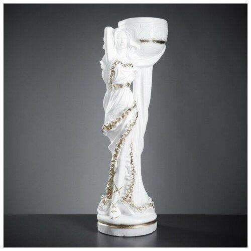 Фигура с кашпо Девушка Нимфа белое золото 83см 4253603 фигура девушка на коленях золото 10х6х15см 3928137