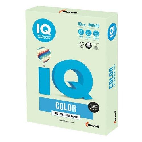 Бумага цветная IQ color большой формат (297х420 мм), А3, 80 г/м2, 500 л., пастель, светло-зеленая, GN27