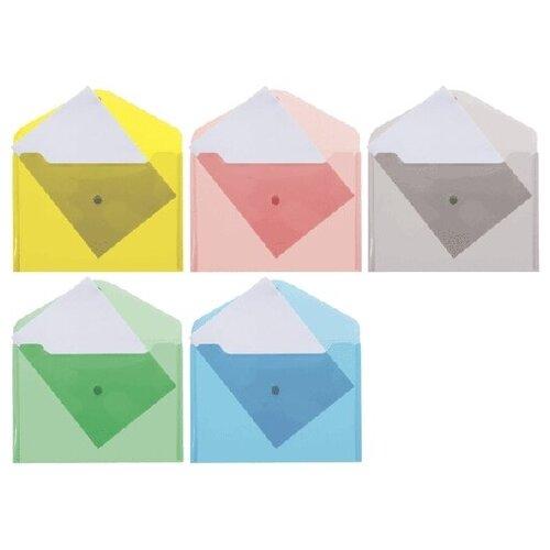 Папка-конверт на кнопке de VENTE В5, 180мкм, полупрозрач. ассорти. 3071815
