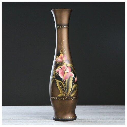 Керамика ручной работы Ваза напольная Грация акрил, цветы, коричневый цвет, 70 см, микс, керамика ваза керамика ручной работы кегля 4341586 коричневый